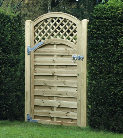 Arched lattice top garden gate