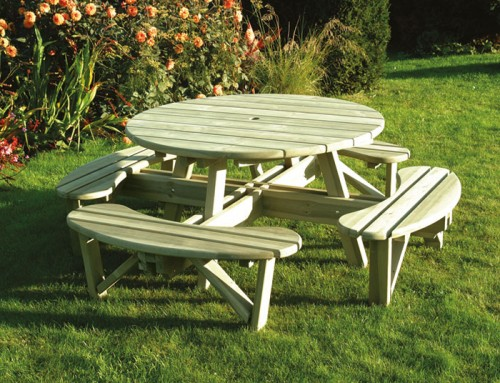 Round Table Bench Set