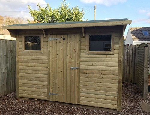 Shed with double front windows